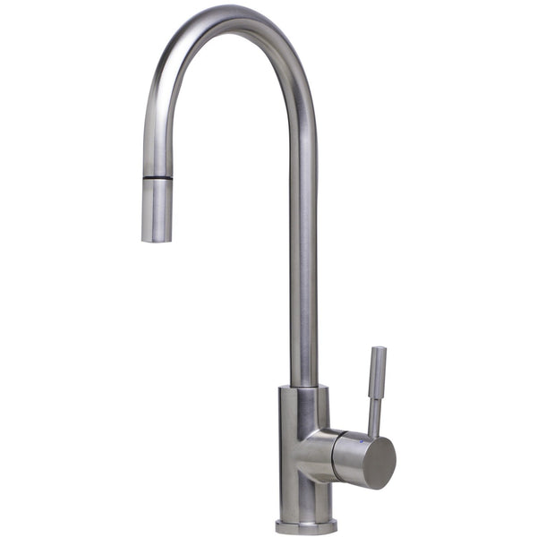 ALFI brand AB2028 Solid Brushed/Polished Stainless Steel Single Hole Pull Down Kitchen Faucet