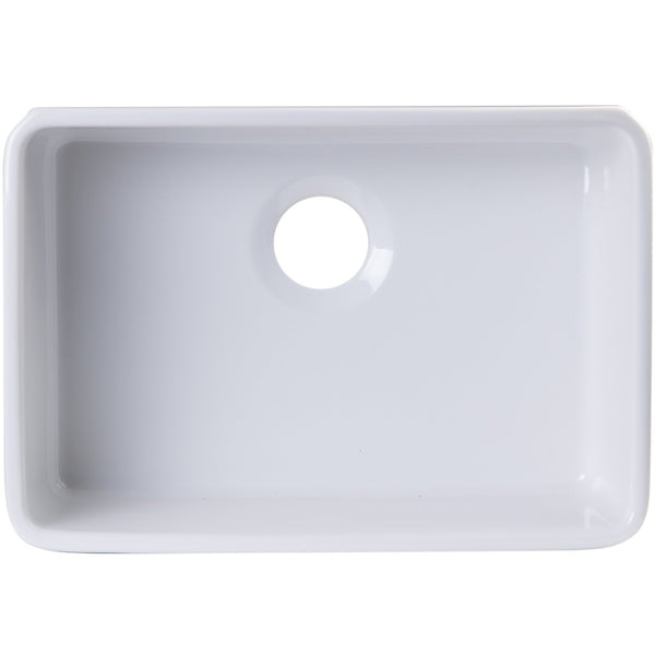 ALFI brand AB503UM 24 inch Biscuit/White Single Bowl Fireclay Undermount Kitchen Sink