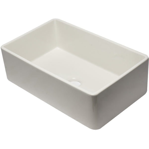 ALFI brand AB3320SB 33 inch Biscuit/Black/White Reversible Single Fireclay Farmhouse Kitchen Sink