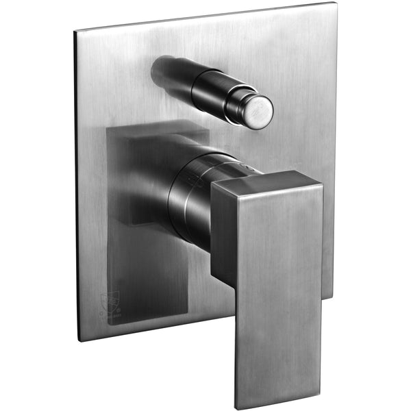 ALFI brand AB6801 Brushed Nickel/Polished Chrome Modern Square Pressure Balanced Shower Mixer with Diverter