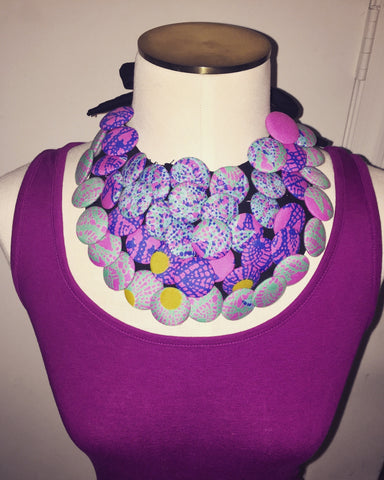 Pink/Gray Print Button Necklace
