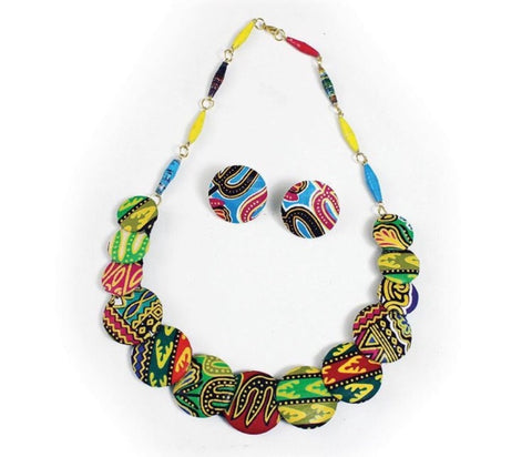 Print Button Necklace Set