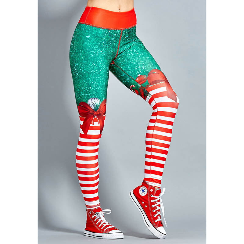2018 New Exaggerated Yoga Style Pant - Christmas Striped Print Pants