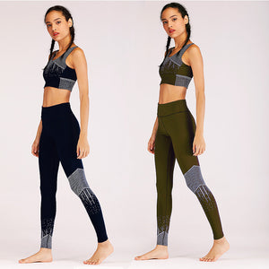 HAHASOLE Yoga Sports Suits Women Sports Wear Sets Tracksuits Gym Sport Fitness High Waist Leggings Sexy Yoga Sets HWA2413-4