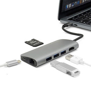 USB C Hub, Sinstar 8 in 1 Aluminum Multi Port Adapter Type C