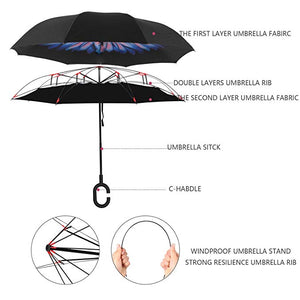 Double Layer Inverted Umbrellas Reverse Folding Umbrella Windproof UV Protection Big Straight Umbrella for Car Rain Outdoor with C-Shaped Handle