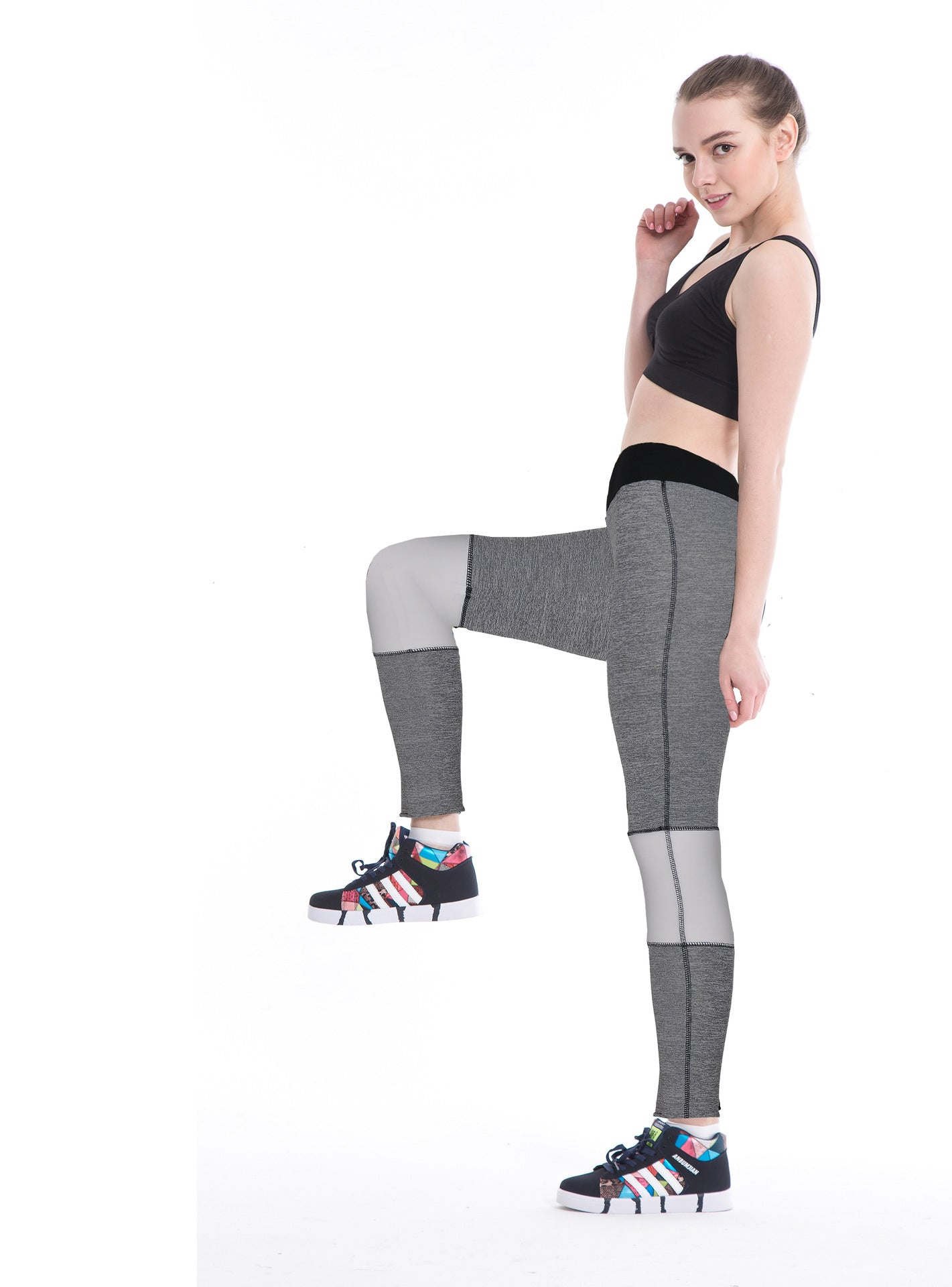 European and American style Slim slimming nine points stitching sports yoga pants