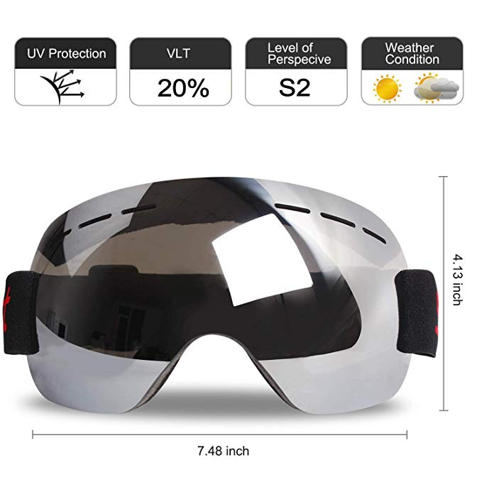 Ski Goggles, Frameless Snow Goggles OTG, 2.4 OZ Only Ultra-Light and Ultra-Soft,Anti-Fog UV Protection,180-Degree Unobstructed Visual Angle Design, Unisex