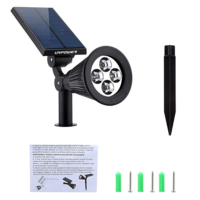 (Now Buy five pieces and pay only for the price of three items)URPOWER Solar Lights 2-in-1 Solar Powered 4 LED Adjustable Spotlight Wall Light Landscape Light Bright and Dark Sensing Auto On/Off Security Night Lights for Patio Yard Driveway Pool