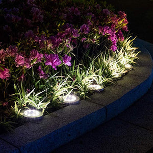 Solpex Solar Powered Disk Lights, 8LED Solar Pathway Lights