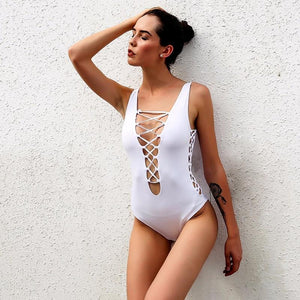Swim Suit - Lace Up Bathing Suit