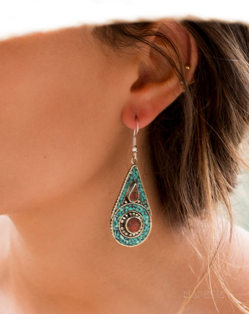 Joyse Turquoise Tibetan Earrings ~German Silver ~ SME048 - Maresia Jewelry