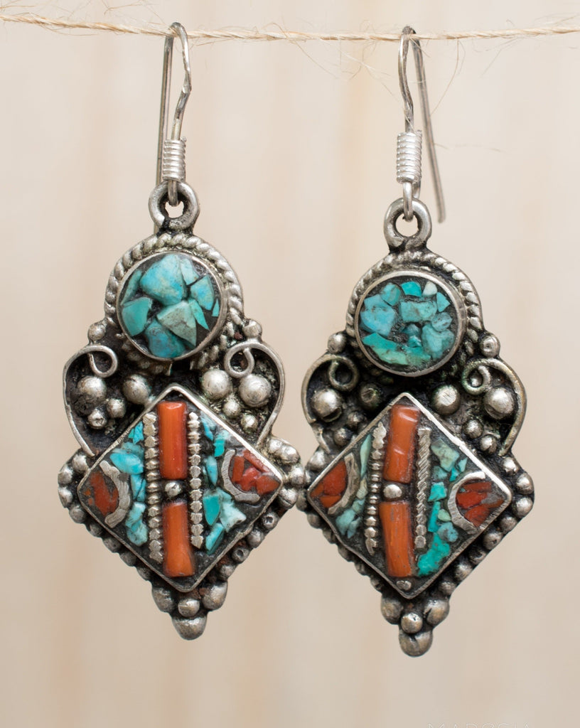 Karine Turquoise Tibetan Earrings ~German Silver ~ SME049 - Maresia Jewelry