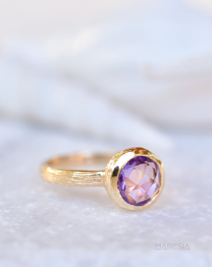 Renata Amethyst Gold Ring ~ 18k Gold Plated ~ SMR121