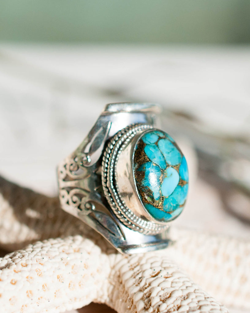 Florida Turquoise Ring ~ Sterling Silver 925~ - Maresia Jewelry