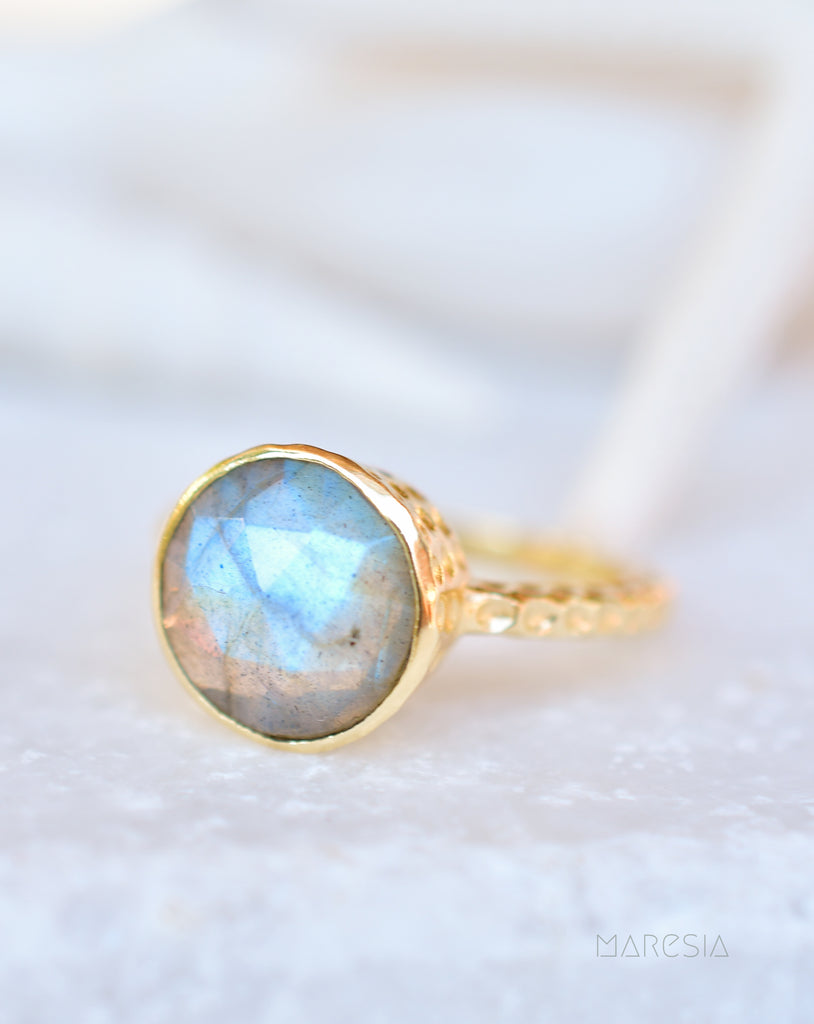 Gabi Rainbow Labradorite Tear Drop Ring ~ 18k Gold Plated ~ SMR105