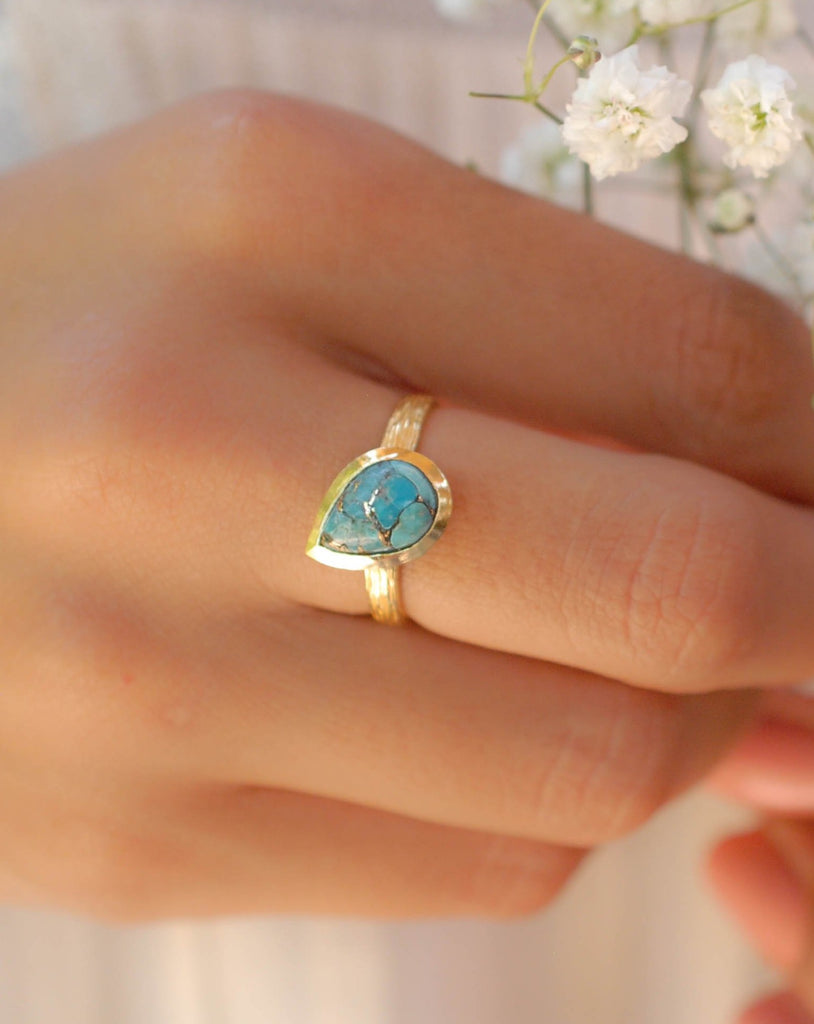 Lica Copper Turquoise Gold Ring ~ 18k Gold Plated ~ SMR128