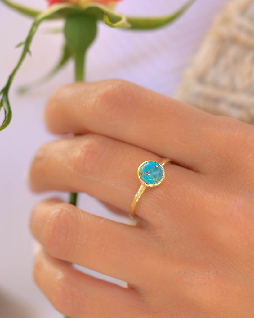 Copper Turquoise Gold Ring ~ 18k Gold Plated ~ SMR104