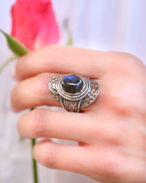 Rainbow Labradorite Ring ~Sterling Silver 925 ~ MR055