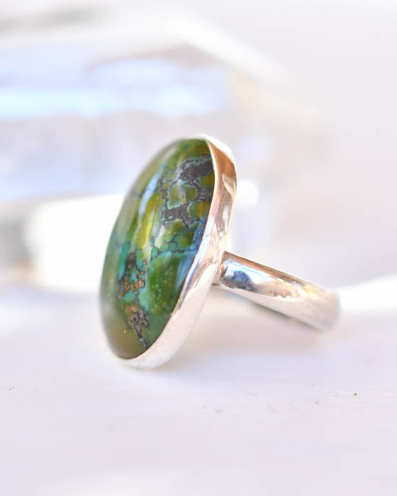 Green Turquoise Ring ~ Sterling Silver 925 ~SMR141