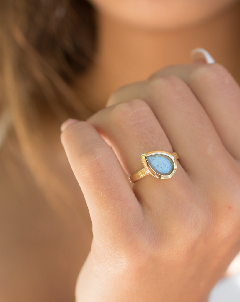 Rainbow Labradorite Tear Drop Ring ~ 18k Gold Plated ~ - Maresia Jewelry