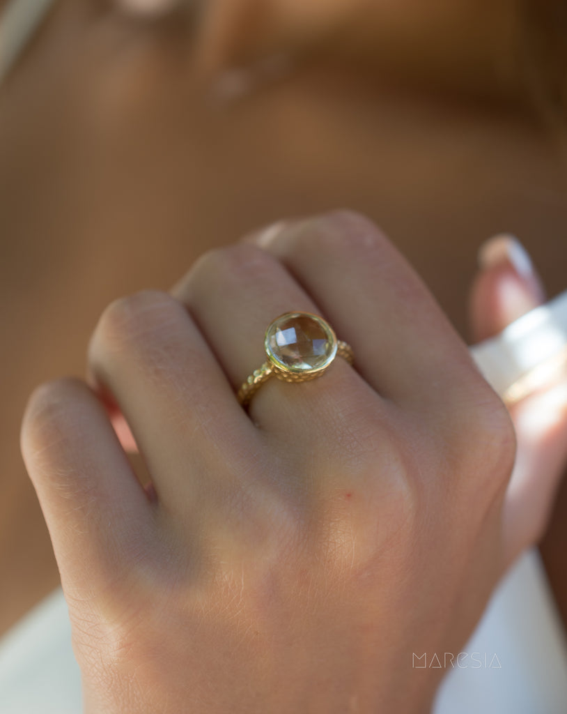 Gabi Yellow Topaz hydro Gold Ring ~ 18k Gold Plated ~ SMR109