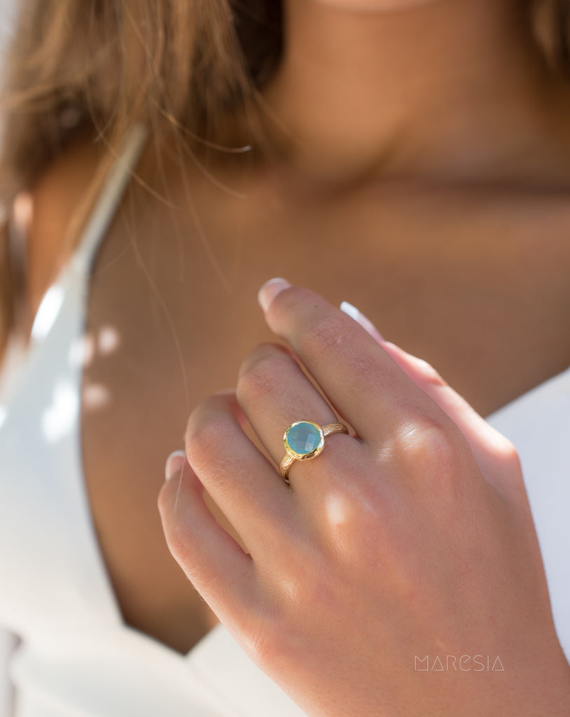 Aqua Chalcedony Gold Ring ~ 18k Gold Plated ~ - Maresia Jewelry
