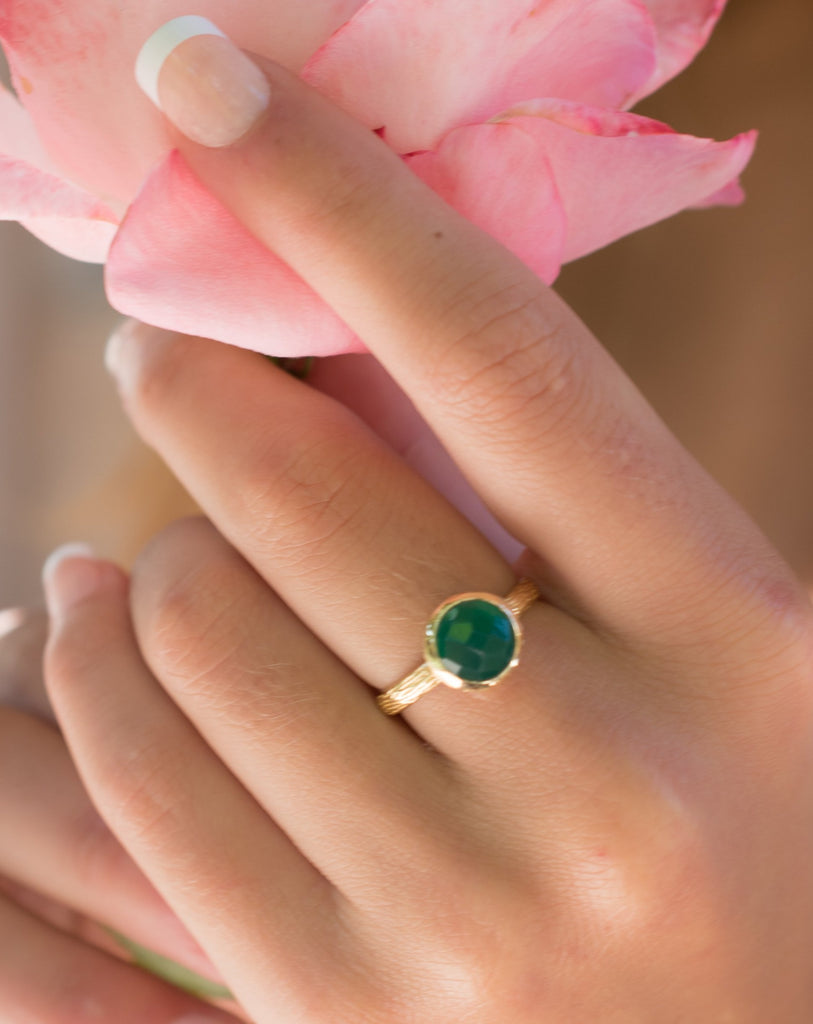 Green Onyx Gold Ring ~ 18k Gold Plated ~ - Maresia Jewelry