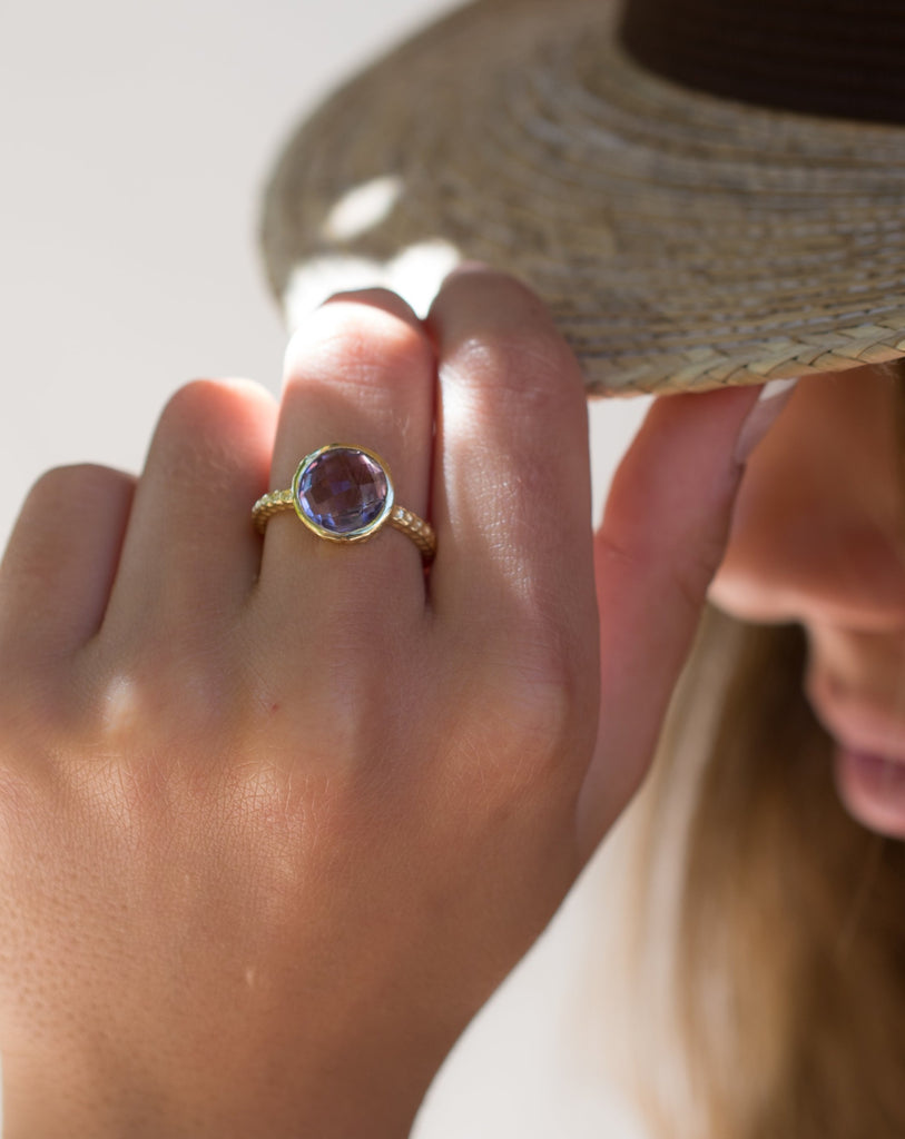 Amethyst Gold Ring ~ 18k Gold Plated ~ - Maresia Jewelry