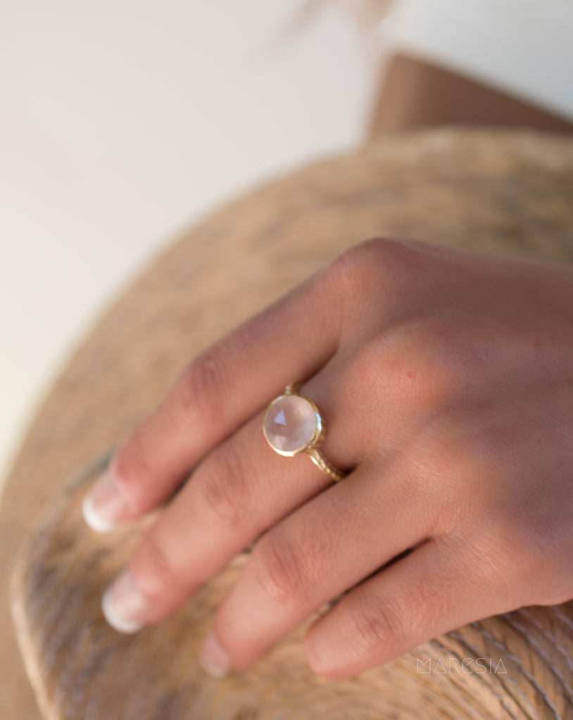 Gabi Rose Quartz Gold Ring ~ 18k Gold Plated ~ SMR110