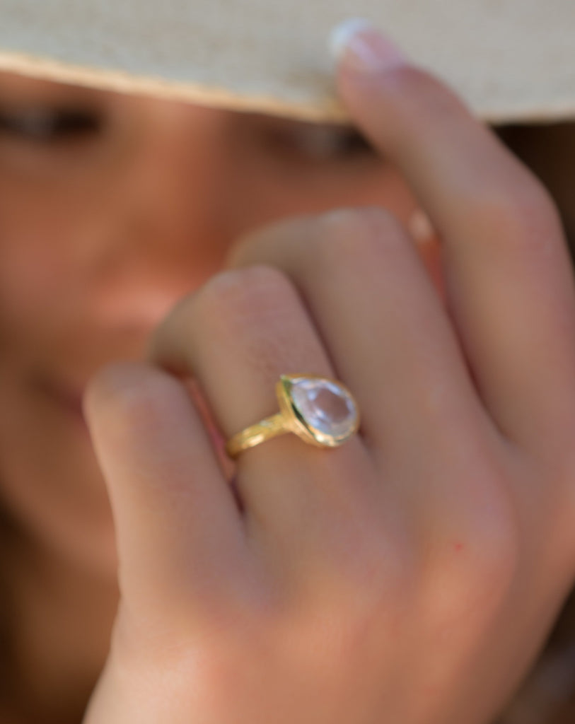 Rose Quartz Tear Drop Gold Ring ~ 18k Gold Plated ~ - Maresia Jewelry