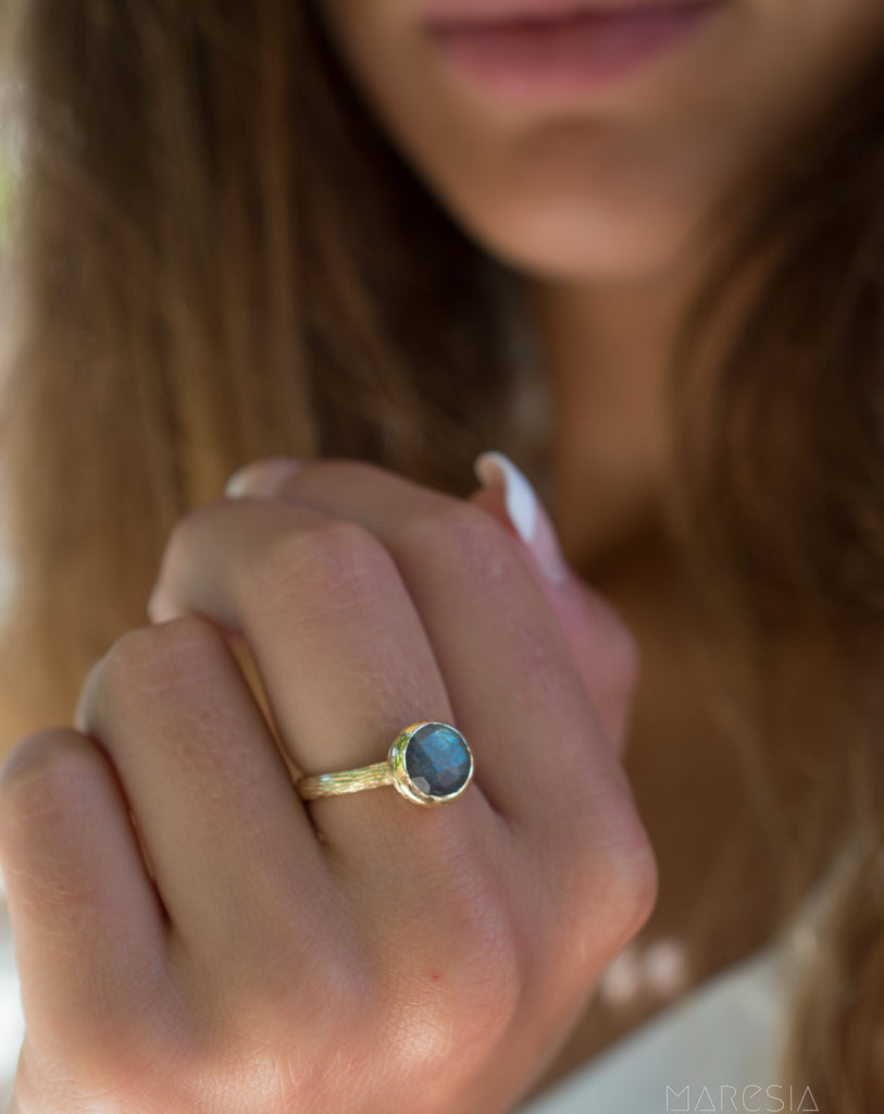 Rainbow Labradorite Ring ~ 18k Gold Plated ~ - Maresia Jewelry