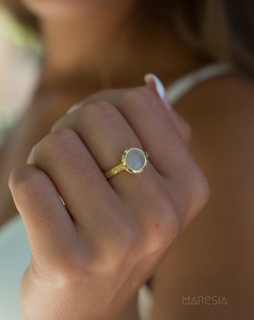 Renata Moonstone Gold Ring ~ 18k Gold Plated ~ SMR123