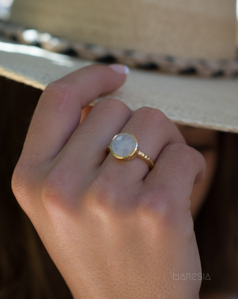 Rainbow Moonstone Ring  ~ 18k Gold Plated ~ - Maresia Jewelry
