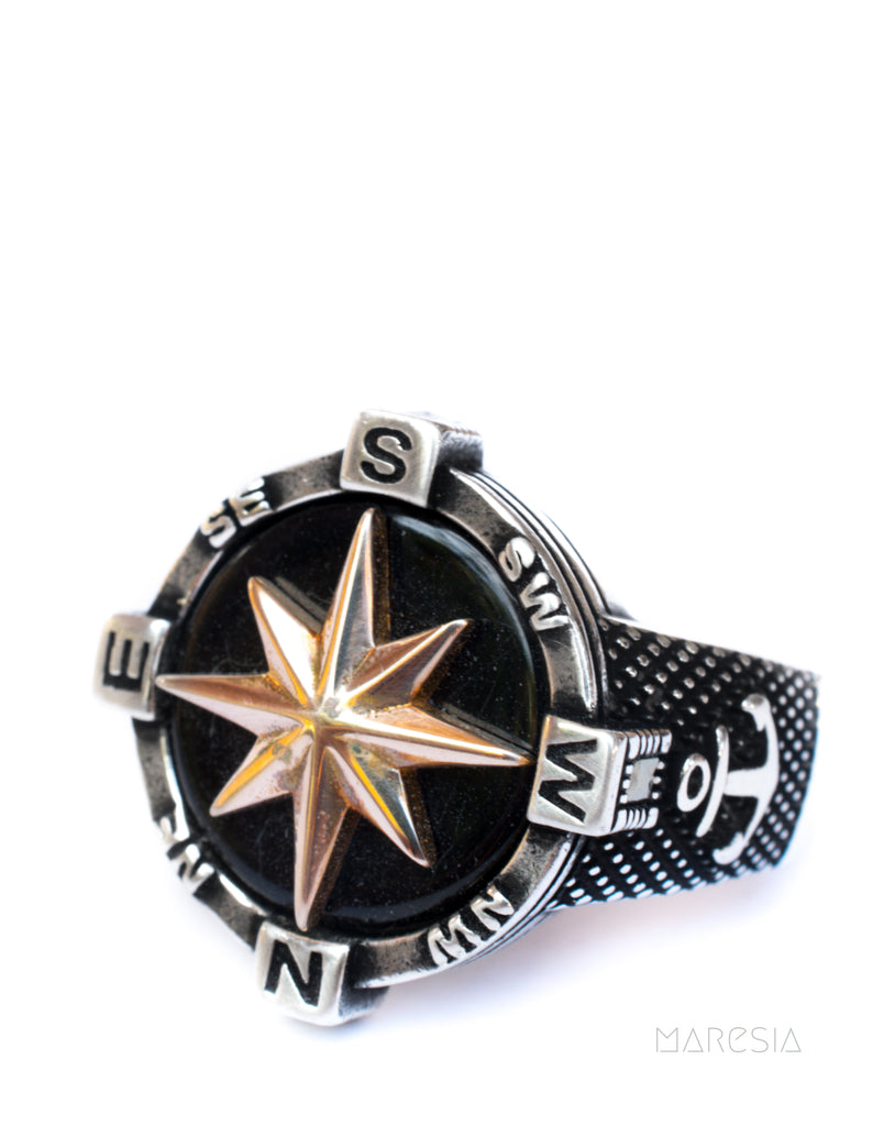 Compass Men's Ring ~ Sterling Silver 925 ~
