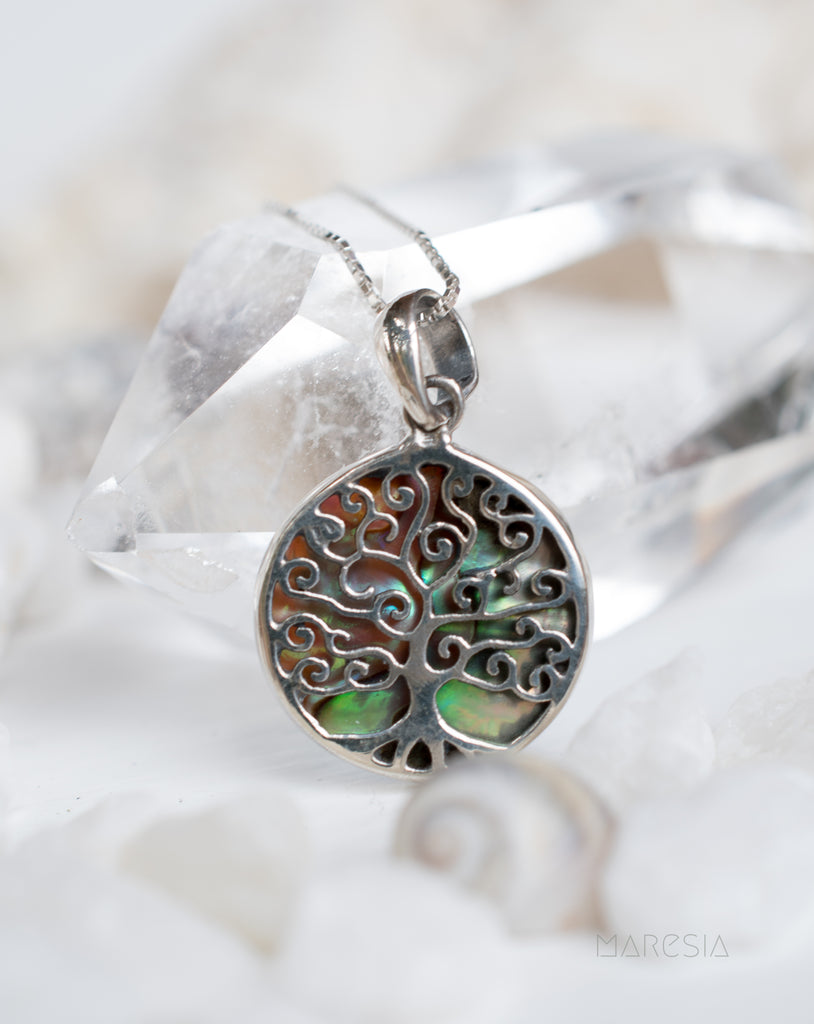 Tree of Life Small Pendant ~ Abalone, Mother of Pearl or Coral ~ Sterling Silver 925 ~SMP018