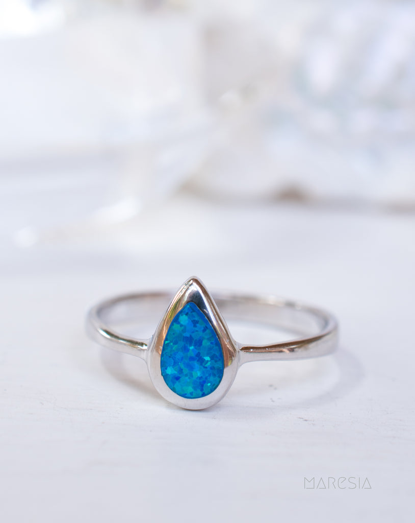 Blue Opal Ring ~Sterling Silver 925~ SMR047