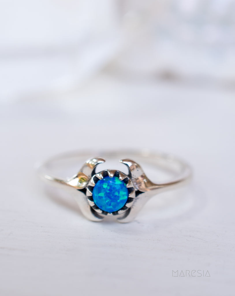 Mermaid  Tail Blue Opal Ring ~Sterling Silver 925~ SMR049