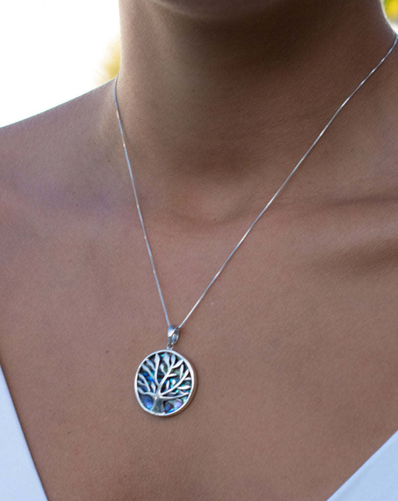 Tree of Life Pendant ~ Abalone, Mother of Pearl or Coral ~ Sterling Silver 925 ~SMP017