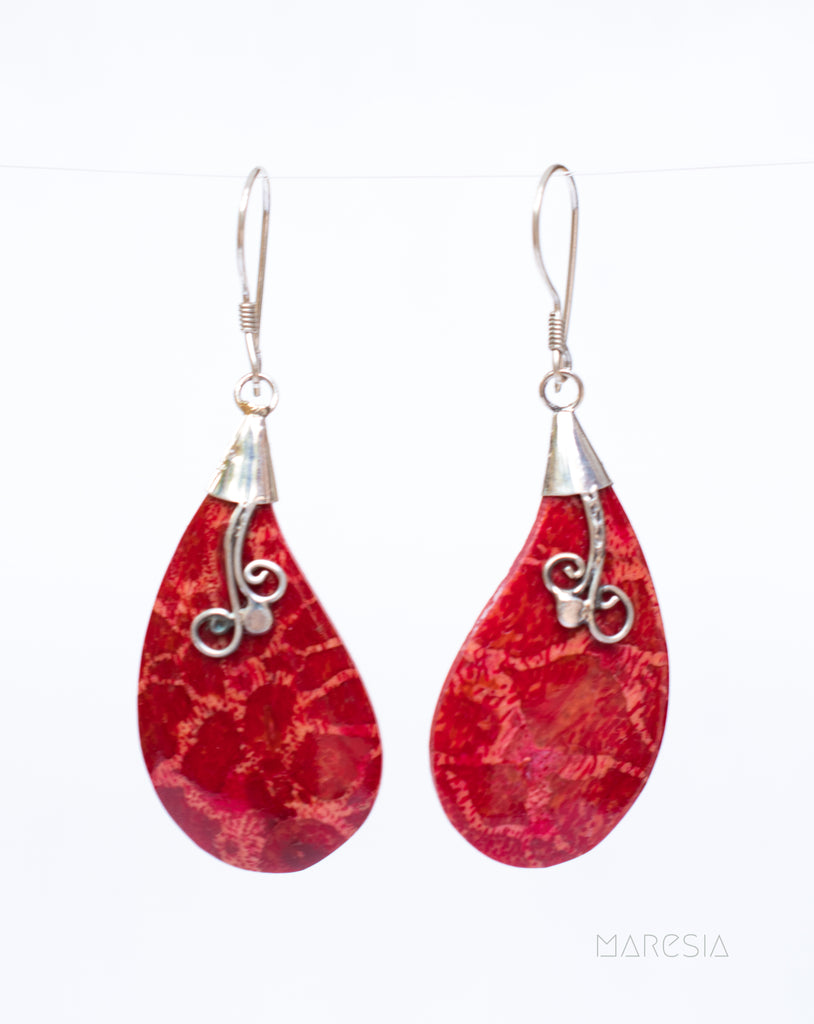 Coral Earrings ~ Sterling Silver 925 ~ SME065