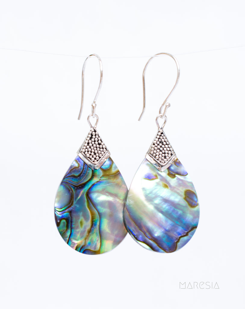 Abalone Earrings ~ Sterling Silver 925 ~ SME054