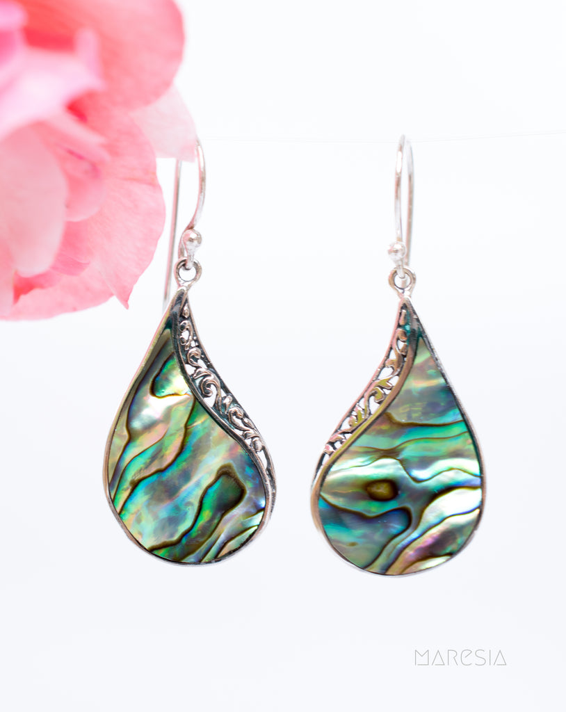 Abalone, Mother of Pearl or Coral Earrings ~ Sterling Silver 925 ~ SME059