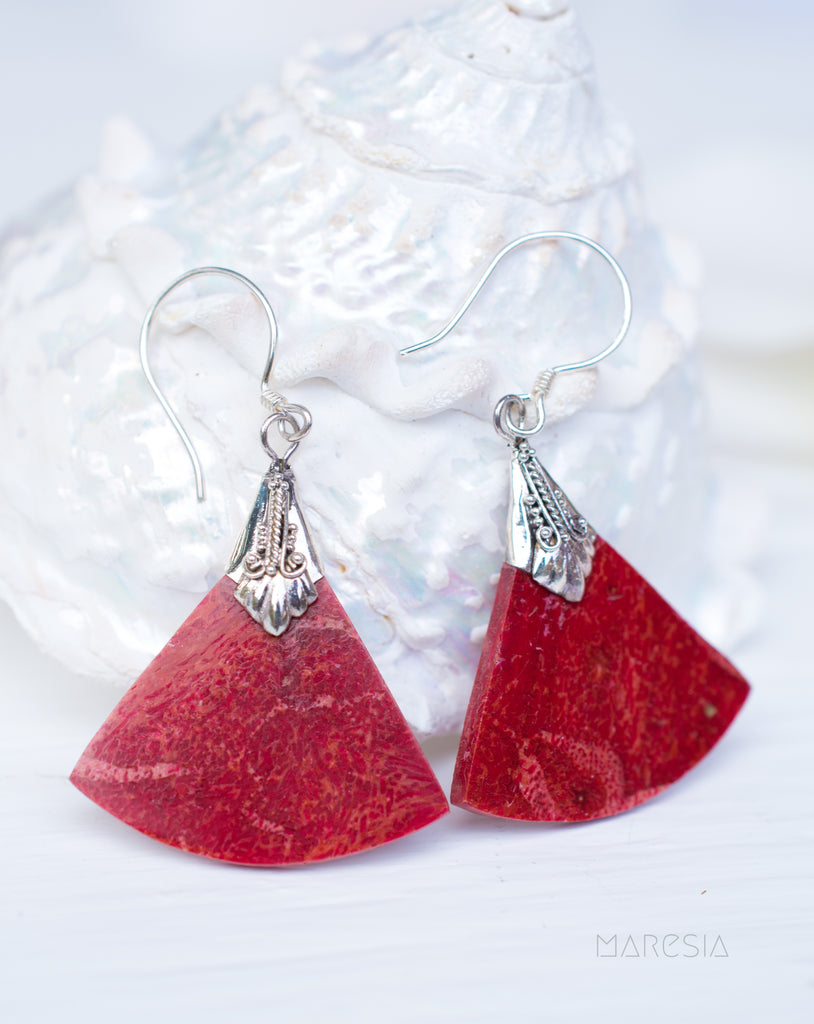 Coral Earrings ~ Sterling Silver 925 ~ SME067