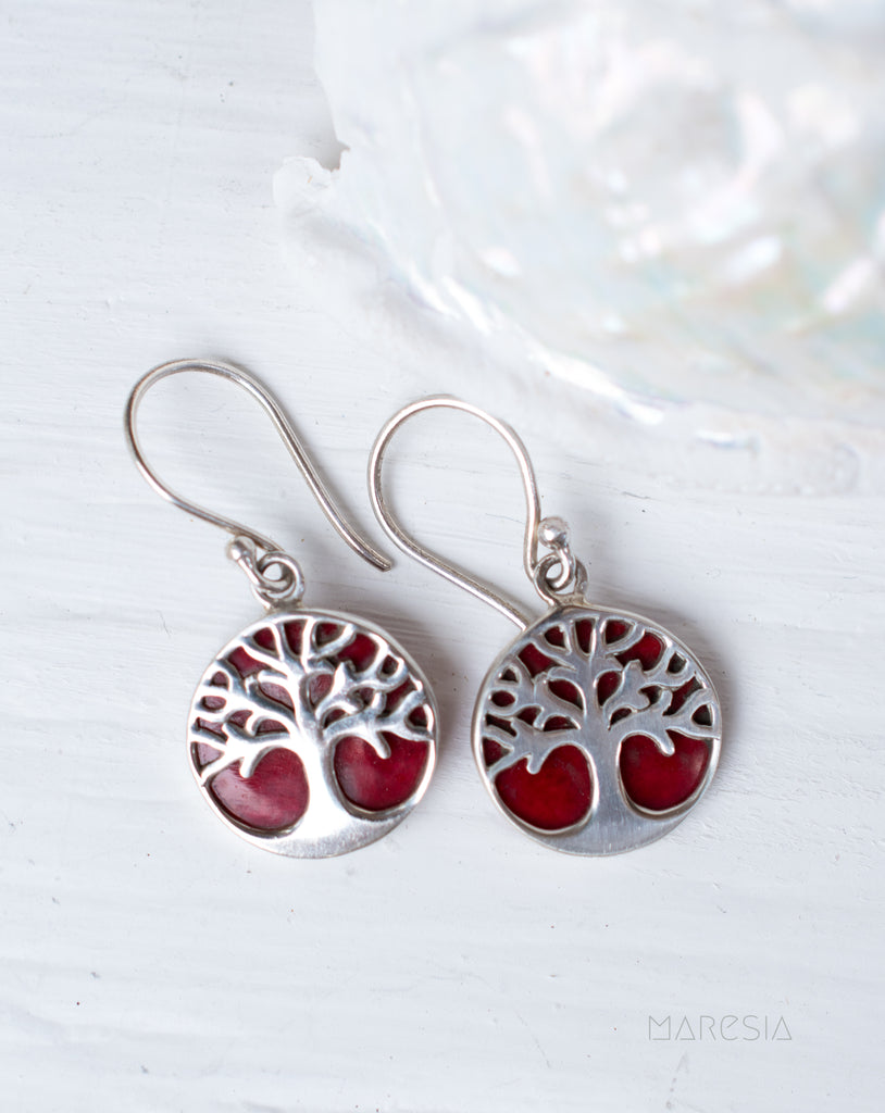 Tree of Life Coral Earrings ~ Sterling Silver 925 ~ SME069