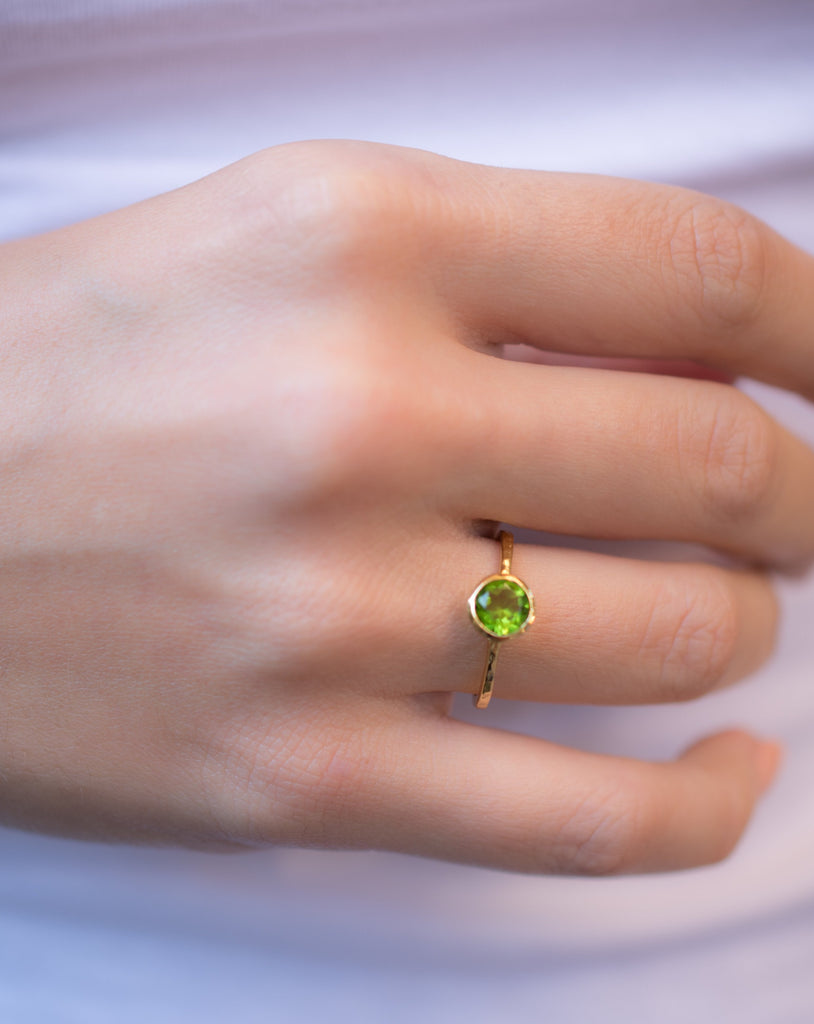 Peridot Gold Ring ~ 18k Gold Plated ~ MR212