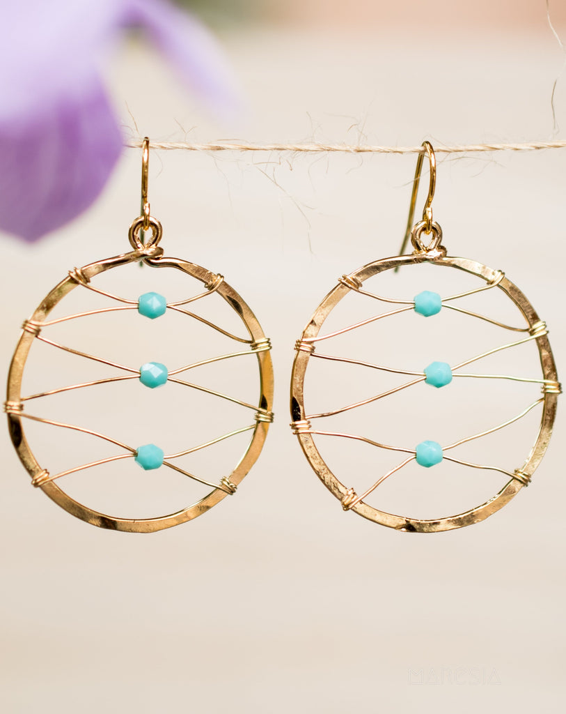 Bianca Circle Earrings Turquoise ~Gold Plated or Silver Plated ~ SME018 - Maresia Jewelry