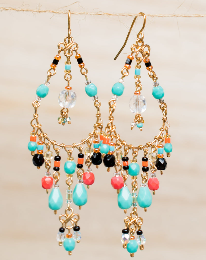 Leticia Chandelier Earrings ~Gold Plated ~ SME032 - Maresia Jewelry