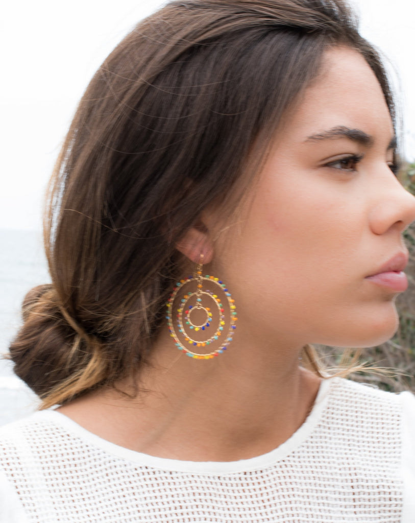Vania Chandelier Earrings ~Gold Plated ~ SME033 - Maresia Jewelry