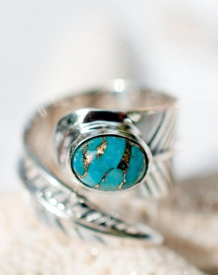 Tortuga Copper Turquoise Ring ~ Sterling Silver 925 ~ MR022 - Maresia Jewelry