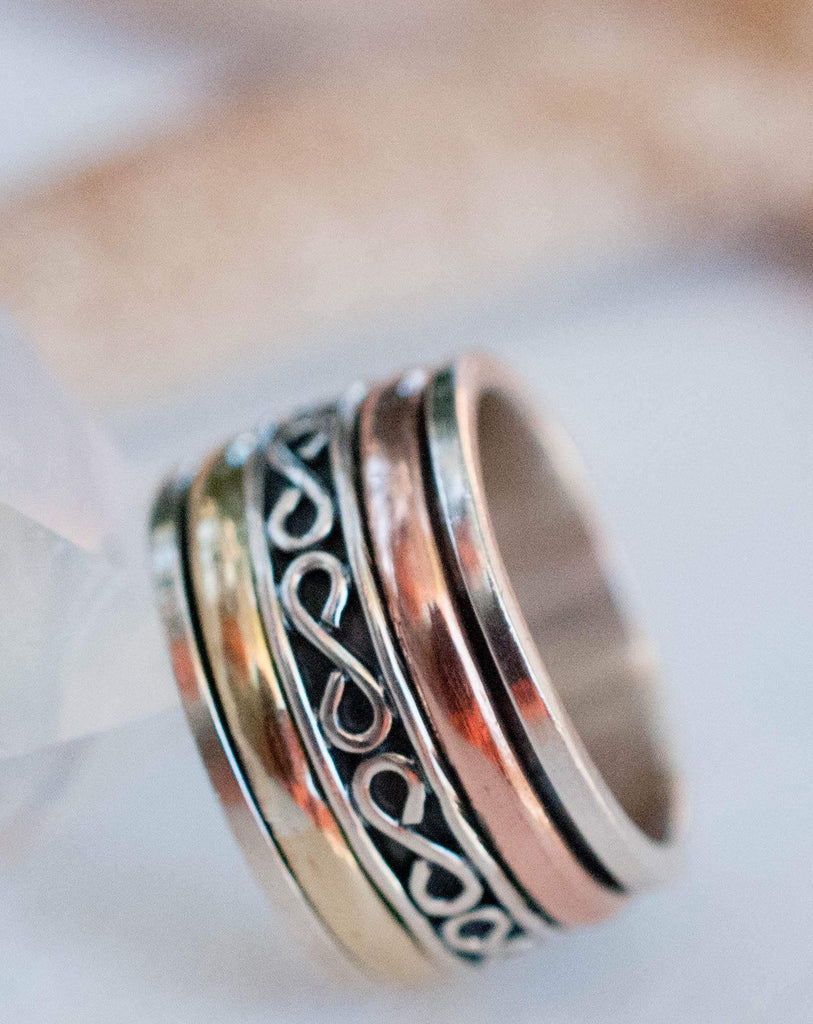 Spinner Ring~Sterling Silver 925 & Copper & Bronze ~MS007 - Maresia Jewelry